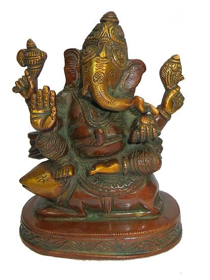 Brass Ganesh Statue (18cm/2kg)