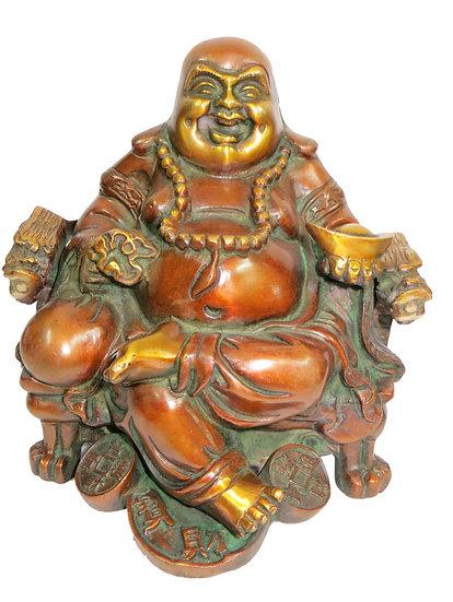 Brass Laughing Buddha Statue (20cm/2.9kg)