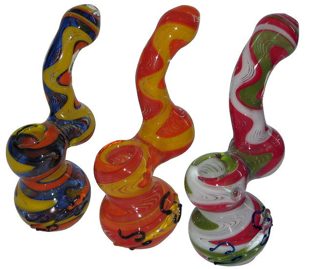 Medium Coloured Glass Bubbler Pipe