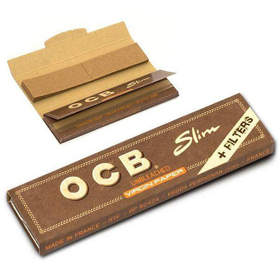 OCB Unbleached Kingsize Slim & Tips