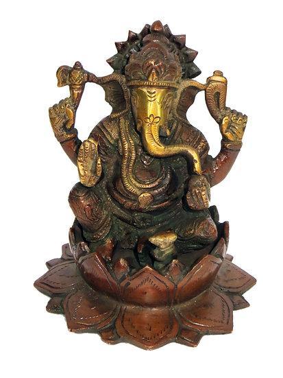 Brass Ganesh Statue (13cm/1.4kg)