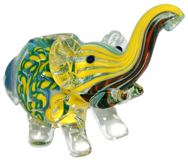 Coloured Glass Elephant Pipe