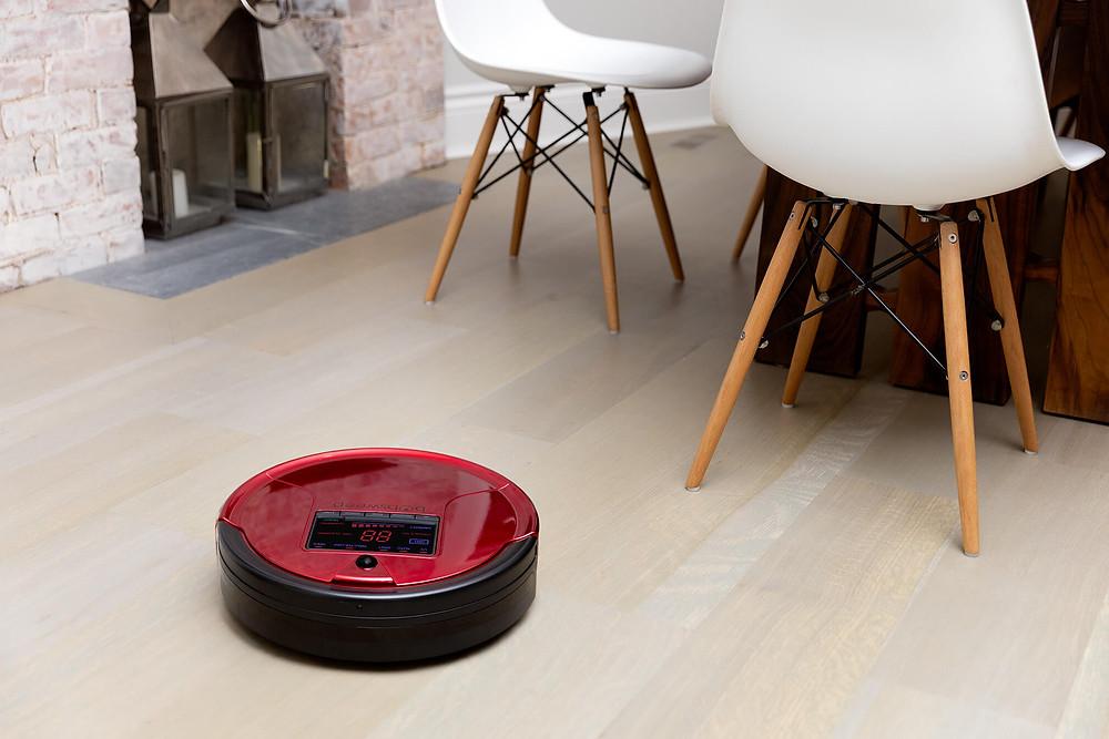 Robotic vacuum cleaning the hardwood floor