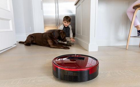 Little boy kid and big dog play on floor while Bob PetHair cleans the hardwood floor