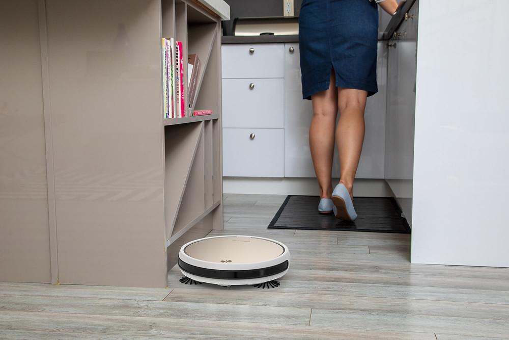 Bob Pro robotic vacuum cleaning kitchen floor