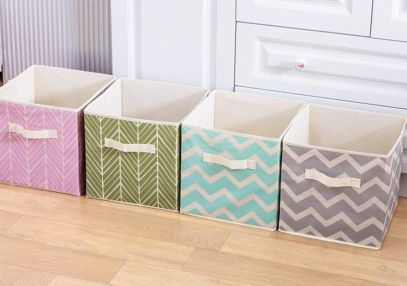 Funky colorful patterns on fabric storage bins
