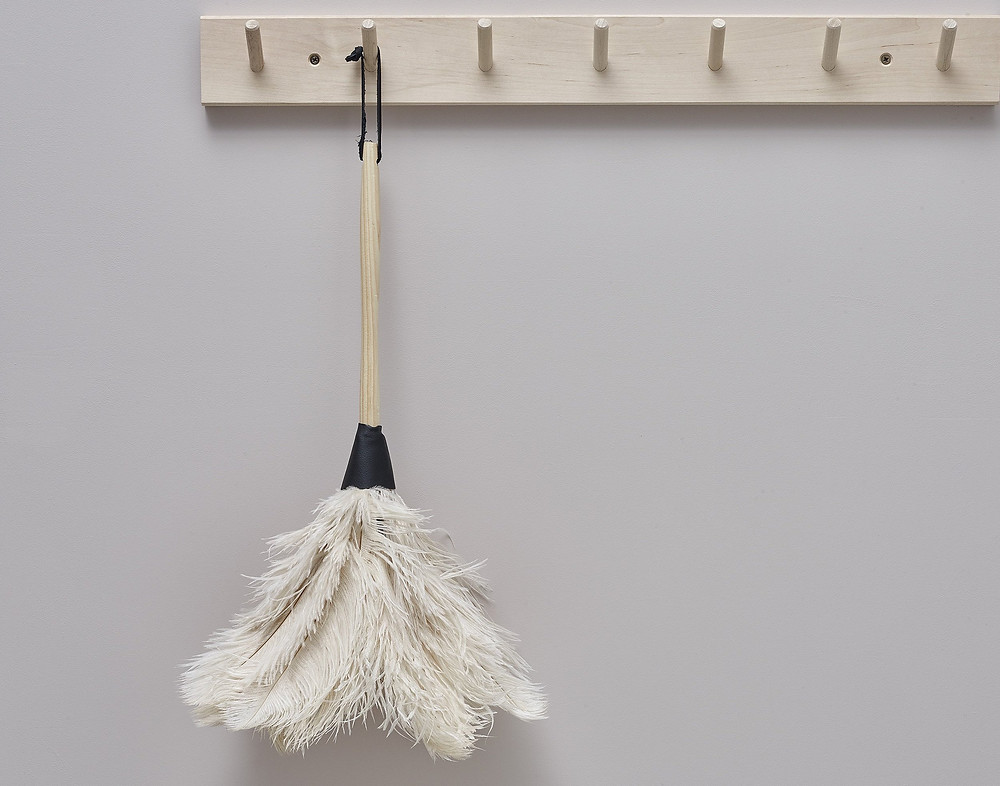 Feather duster hanging from hook