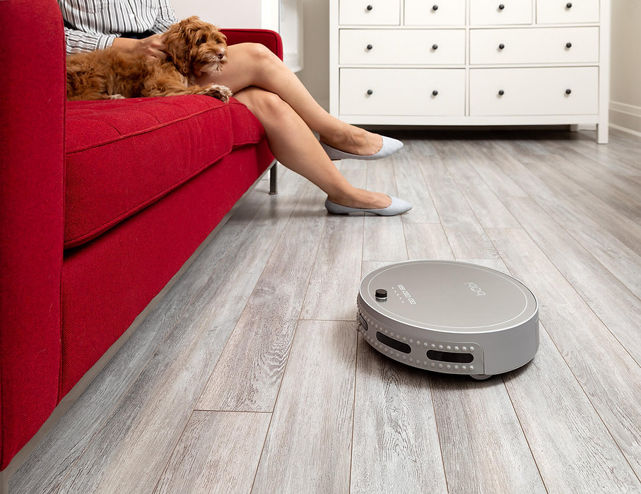 Owner and dog sitting on couch wile bObi pet in silver vacuums floor