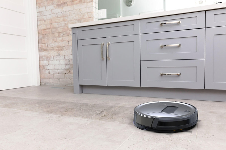 Bob PetHair Vision in space grey mopping the floor