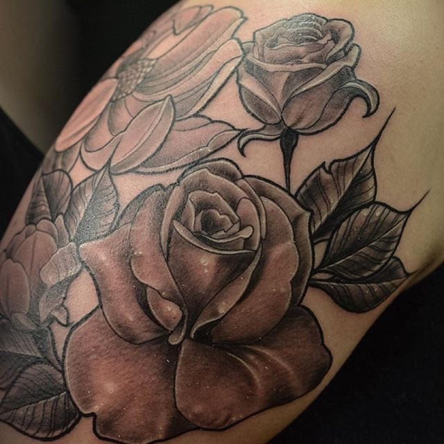 Some black & grey roses I completed the other night.__Took a solid 7 hours on this...