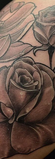 Some black & grey roses I completed the other night.__Took a solid 7 hours on this....jpg