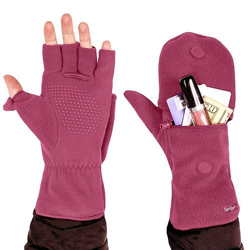כפפות חצי אצבע עם כיס לאחסון - ורוד