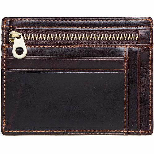 ארנק לגבר קטן דק מעור לכרטיסים שטרות וכסף קטן אחסון מרובה נגד RFID - חום