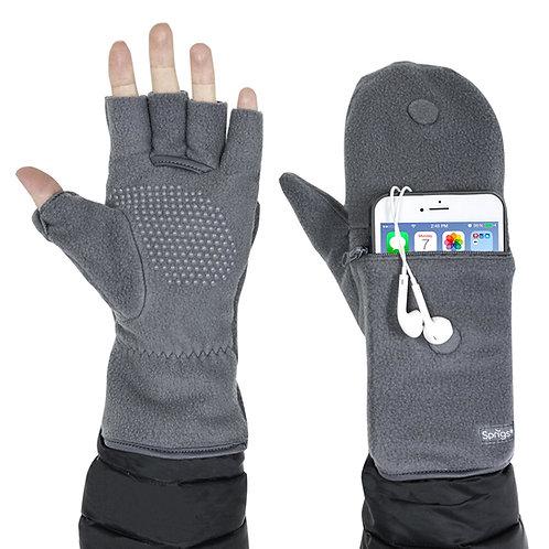כפפות חצי אצבע עם כיס לטלפון - אפור