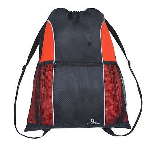 תיק גב שרוך דוחה מים איכותי מעוצב לספורט ונסיעות - שחור/אדום