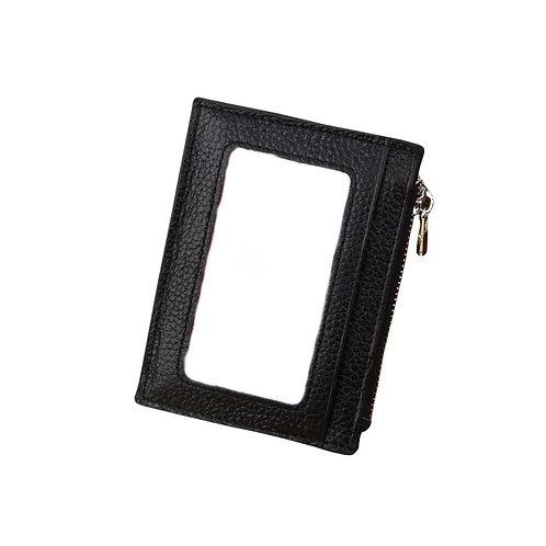 ארנק קטן דק מעור איכותי לכרטיסים כסף קטן חלון שקוף נגד RFID
