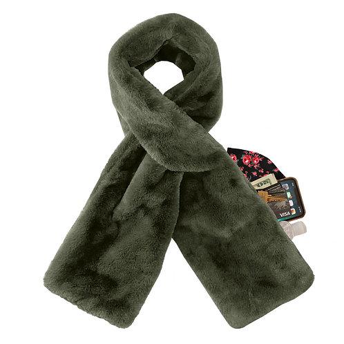 צעיף ירוק זית עם כיס נסתר לאחסון מפנק לחורף במהדורה מוגבלת