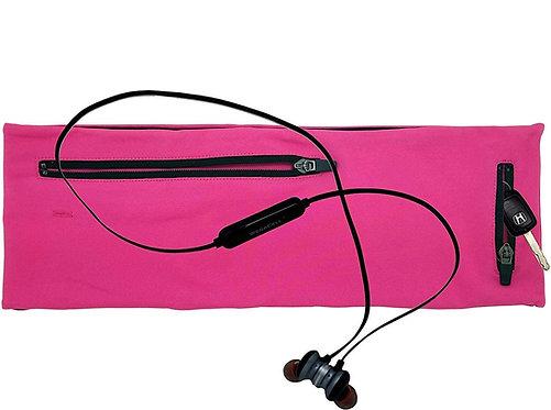 חגורת ריצה פאוץ מנדף זיעה עם רוכסנים ויציאה לאוזניות לספורט וטיולים - ורוד