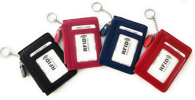 ארנק קטן דק מעור לכרטיסים וכסף עם חלון שקוף ומחזיק למפתחות נגד RFID