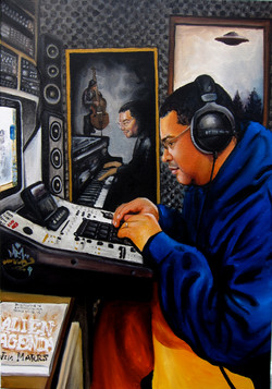 painting of King Solomon making beat