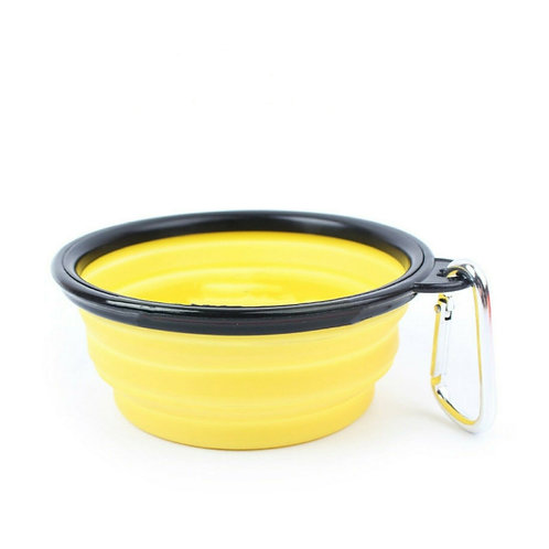 Yellow collapsible Drinking bowl for dogs