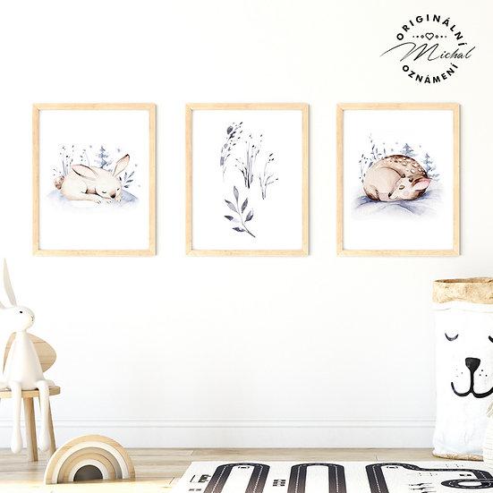Plakát set spinkající zajíček a koloušek milouncí