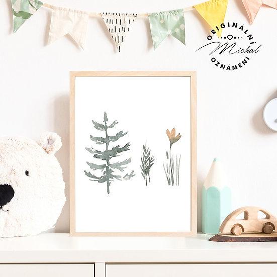 Plakát lesní příroda strom