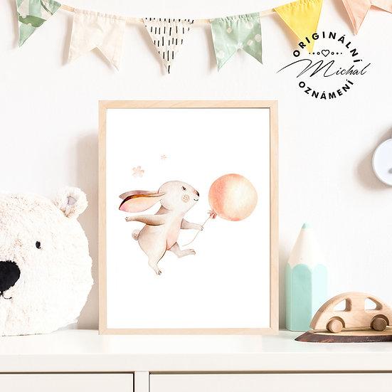 Plakát králíček s balónkem
