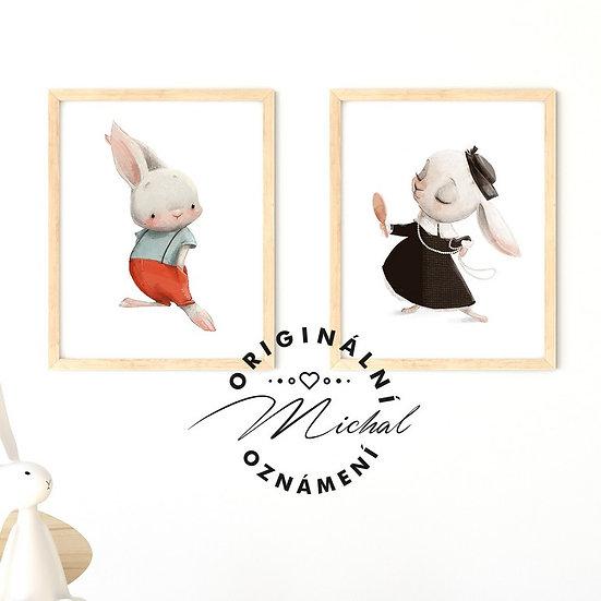 Plakát set zajíček a slečna zaječice