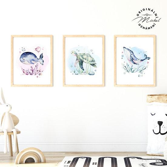 Plakát set mořský svět ryba