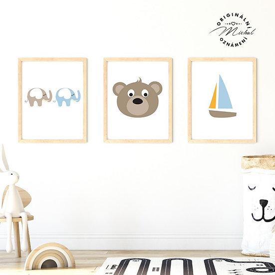 Plakát set medvídek a lodička