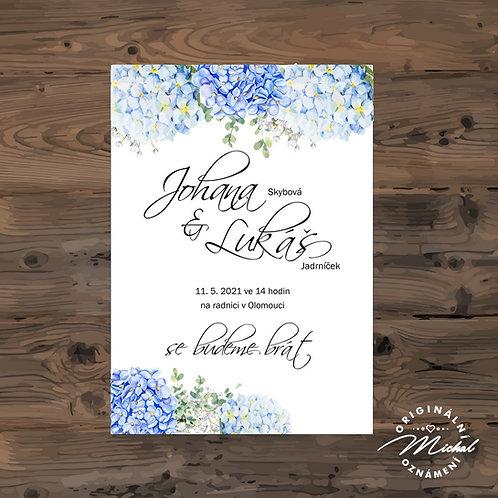Svatební oznámení s květy, modré svatební oznámení, přírodní oznámení, boho