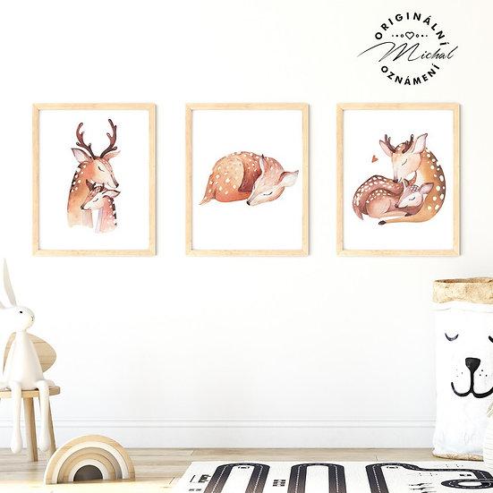 Plakát zvířátka srnečka koloušek jelen les