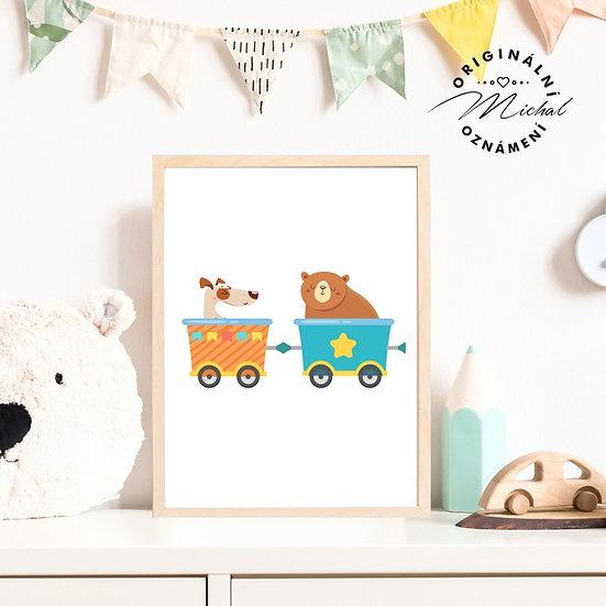 Plakát vláček vagonky se zvířátky