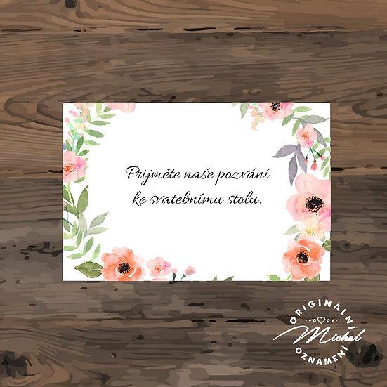 Pozvánka ke svatebnímu stolu - TYP 218