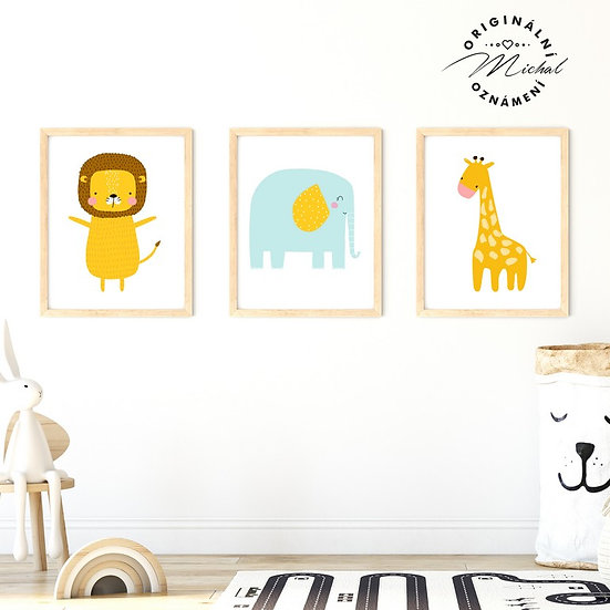 Plakát set lev slon žirafa z afriky