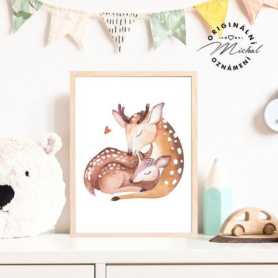 Plakát srnečka s mláďátkem les
