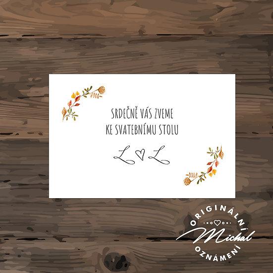 Pozvánka ke svatebnímu stolu - TYP 106