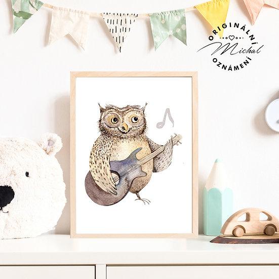 Plakát sova kytaristka pro malé hudebníky