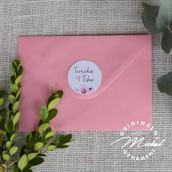 Růžová obálka s kolečkem k mému oznámení
