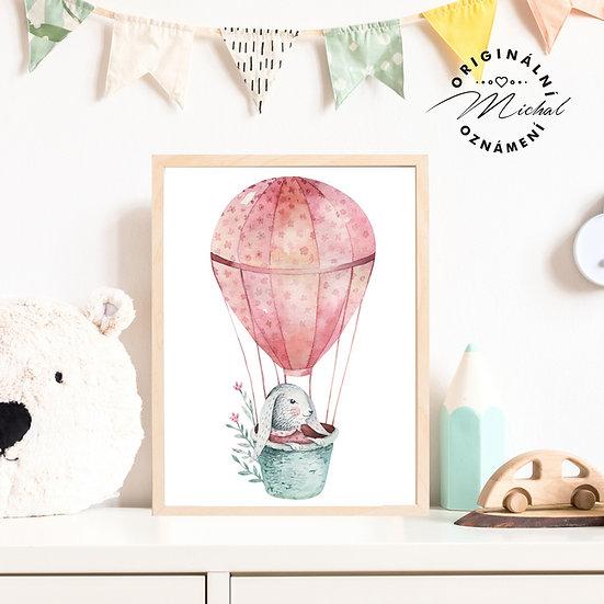 Plakát zajíček v balóně pro holky