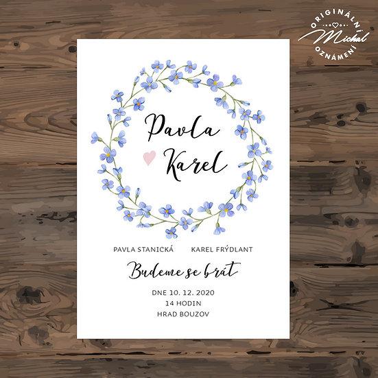 Svatební oznámení, modré kytičky, přírodní, romantické