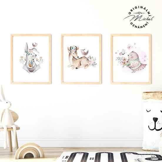 Plakát set milá lesní zvířátka