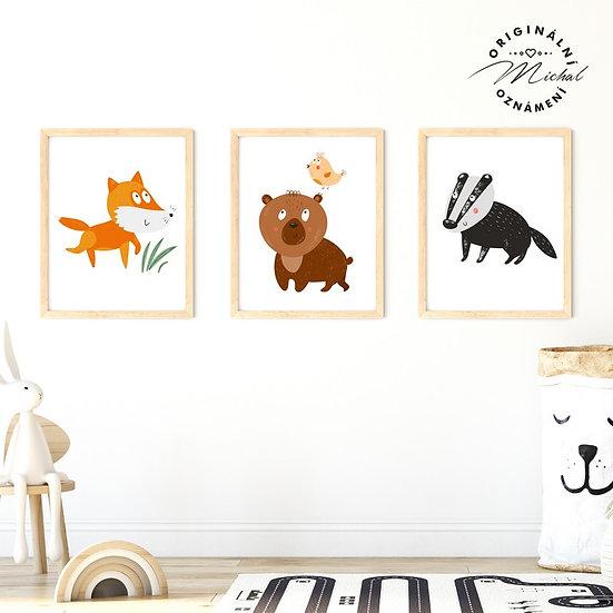 Plakát set veselá lesní zvířátka 2