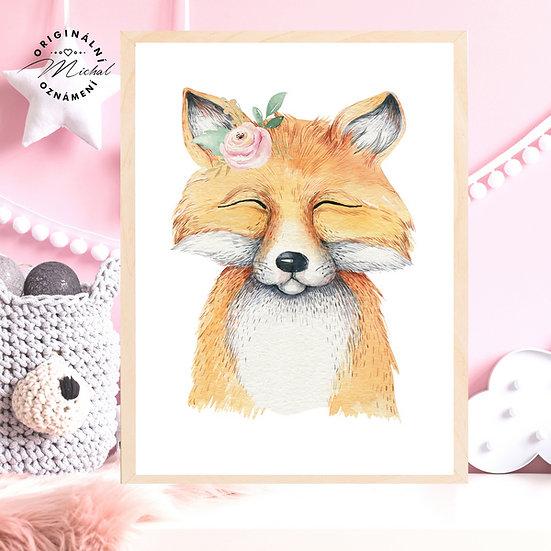 Plakát liška s květy