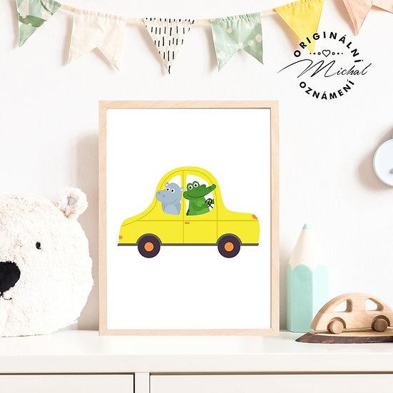 Plakát žluté auto autíčko