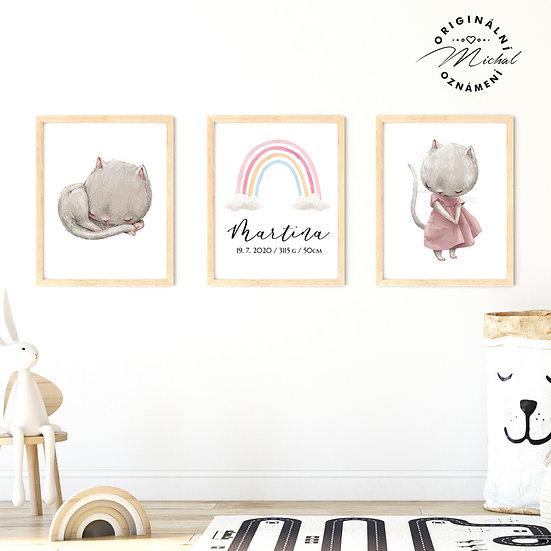 Plakát set kočičky a koťátko a duha se jménem