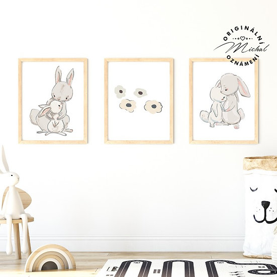 Plakát zajíčkové a květy set