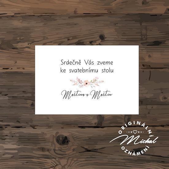 Pozvánka ke svatebnímu stolu - TYP 139
