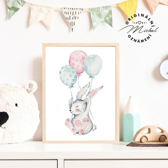 Plakát milý zajíček s balónky